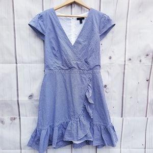 J. Crew Faux Wrap Gingham Ruffle Dress Size 10